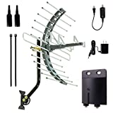 GE Pro Outdoor Long-Range TV Antenna With Amplifier And Mounting Hardware