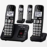 Panasonic KX-TGE434B 4-Pack Expandable Cordless Phones With Answering Machine & Call Blocking