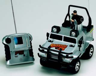 Remote controlled car with built in web camera.