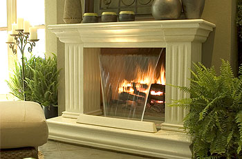 Waterfall fireplace