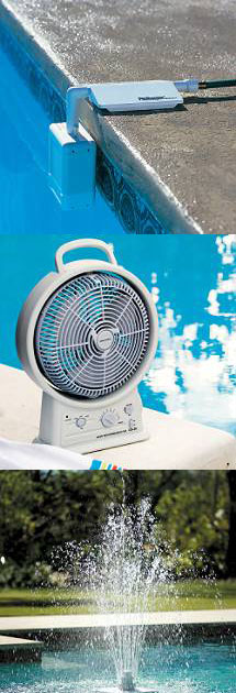 Pool Water Level Controller - Rechargeable Fan with Radio - Pool Fountain
