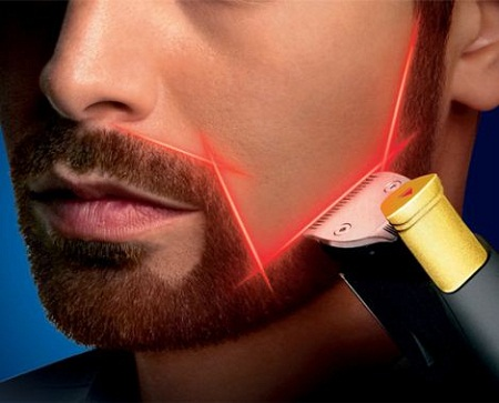 Laser guide beard trimmer