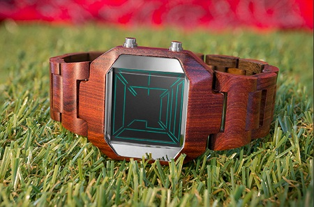 Kisai Space Digits Wood LCD Watch