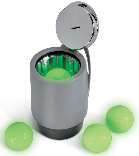 Glow-in-the-dark golf balls and canister