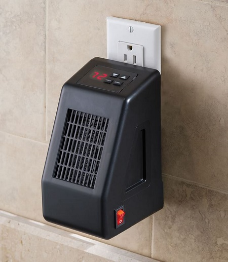Wall outlet space heater