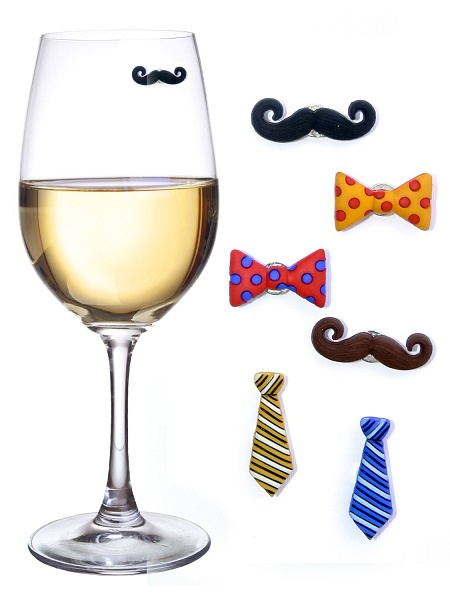 Mustaches and Ties Wine Charms