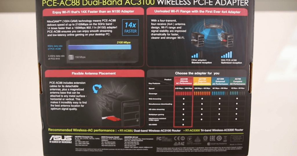 Asus AC3100 PCIe Wireless Adapter box