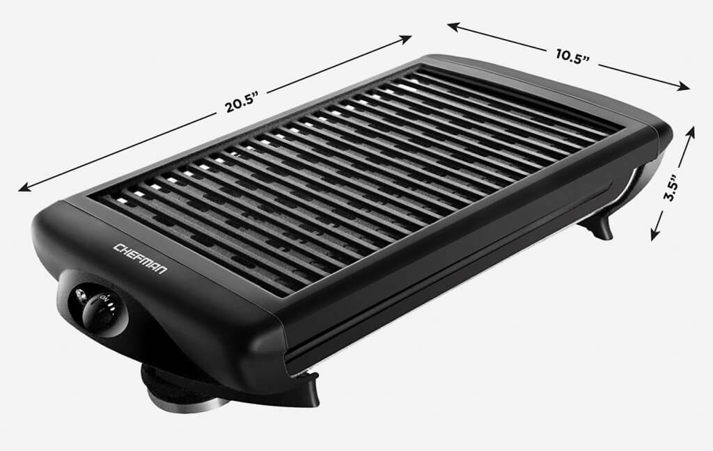 Chefman Electric Smokeless Indoor Grill measurements