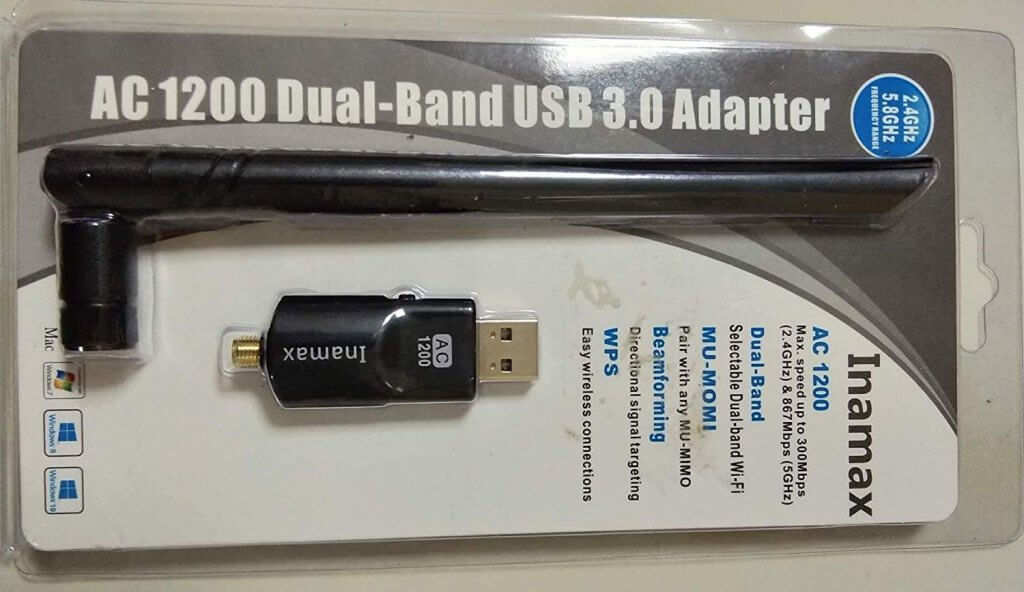 Inamax USB AC1200 USB 3.0 Dual-Band Wireless Adapter packaging