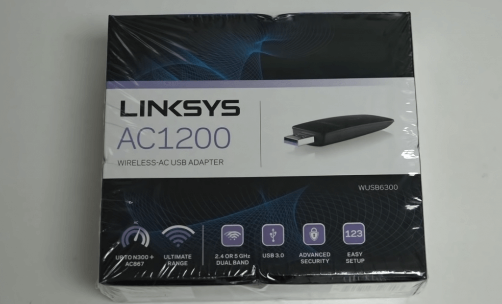 Linksys Dual-Band AC1200 USB 3.0 Wireless Adapter packaging