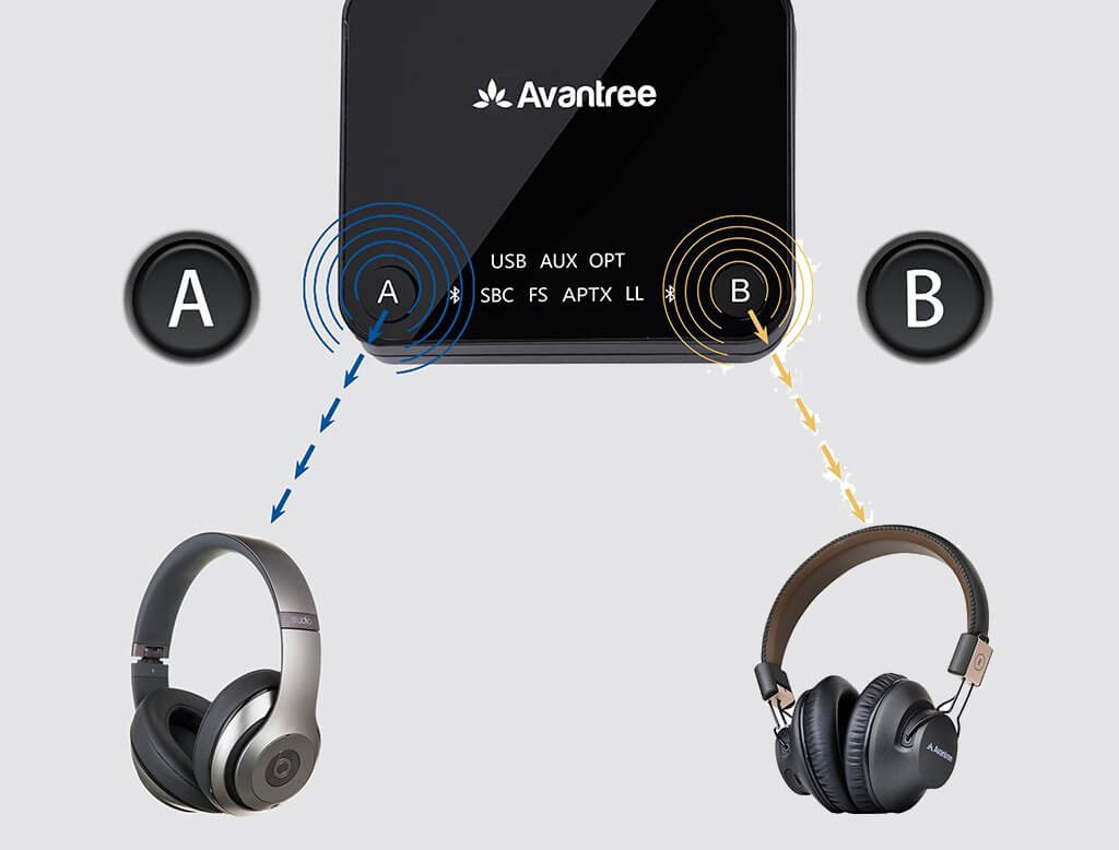 Avantree Audikast Plus and two headphones