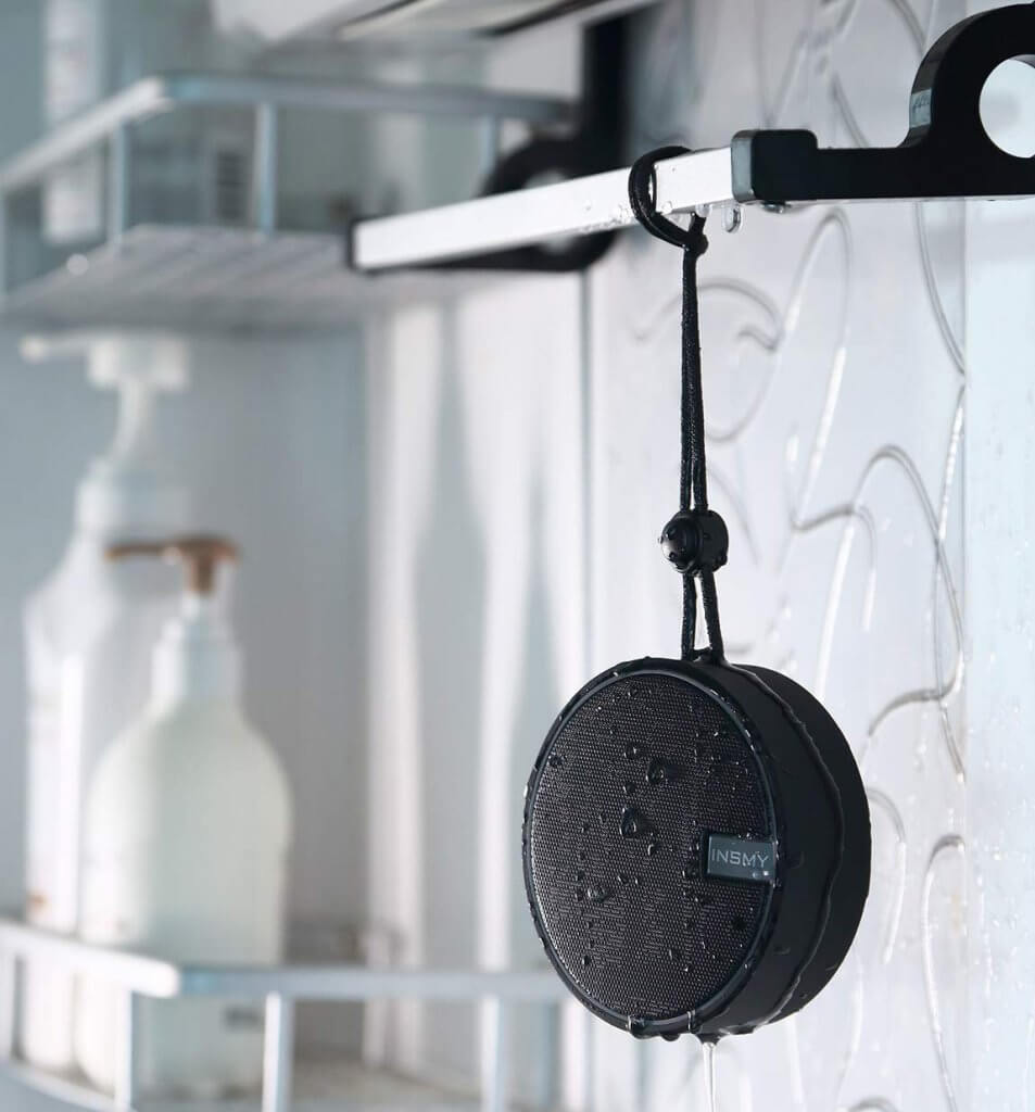 INSMY Portable Bluetooth Shower Speaker in the shower