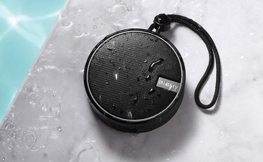 INSMY Portable Bluetooth Shower Speaker on the pool