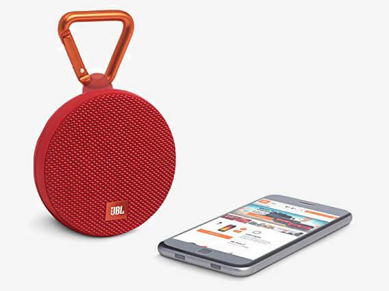 JBL Clip 2 Waterproof Portable Bluetooth Speaker next to phone