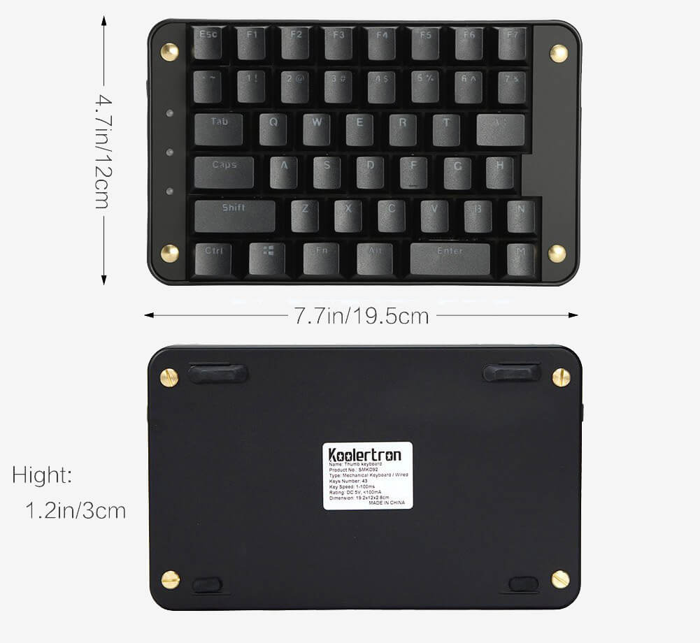Koolertron Cherry MX Black measurements