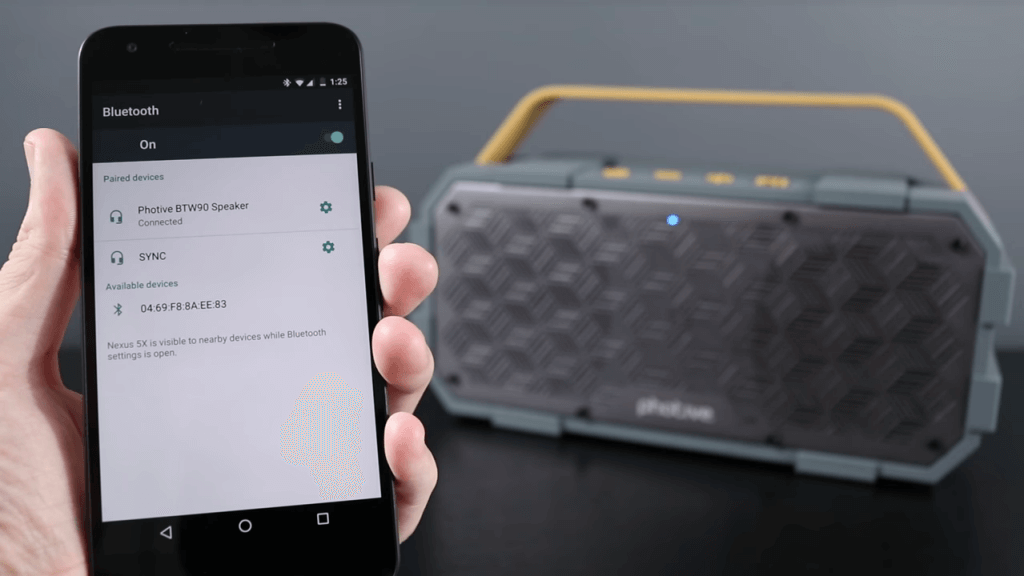 Photive M90 Portable Waterproof Bluetooth Speaker and smartphone
