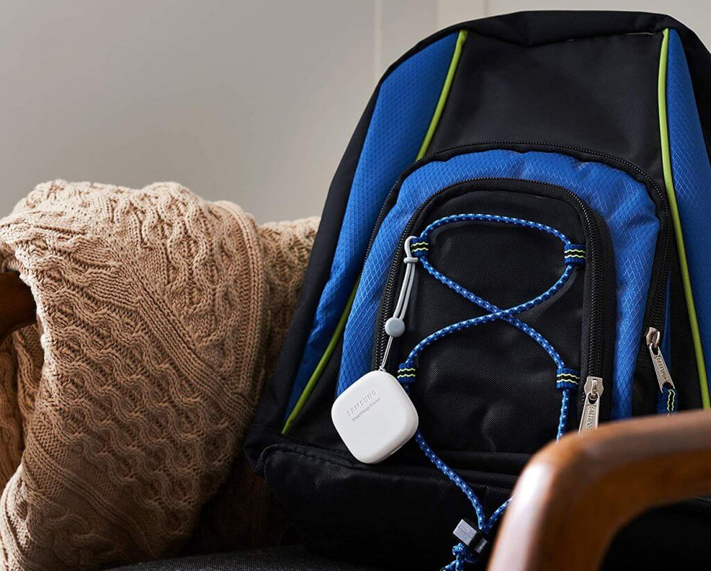 Samsung SmartThings GPS Tracker on backpack