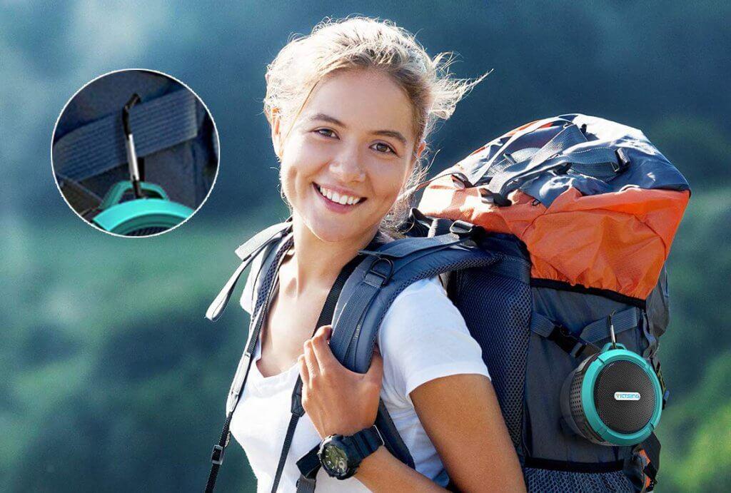 VicTsing SoundHot C6 Portable Bluetooth Speaker on backpack