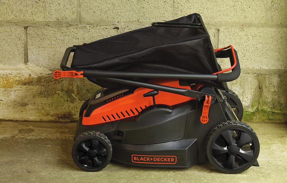 Black+Decker 16-Inch 40-Volt Cordless Lawn Mower ready for storage