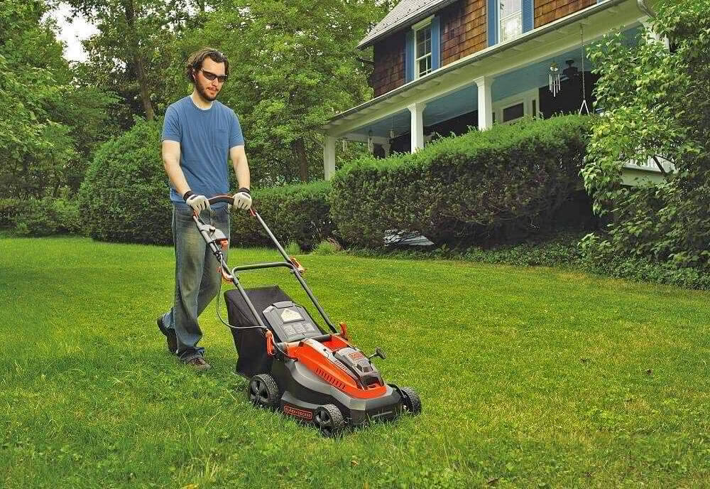 Black+Decker 16-Inch lawn mower on grass