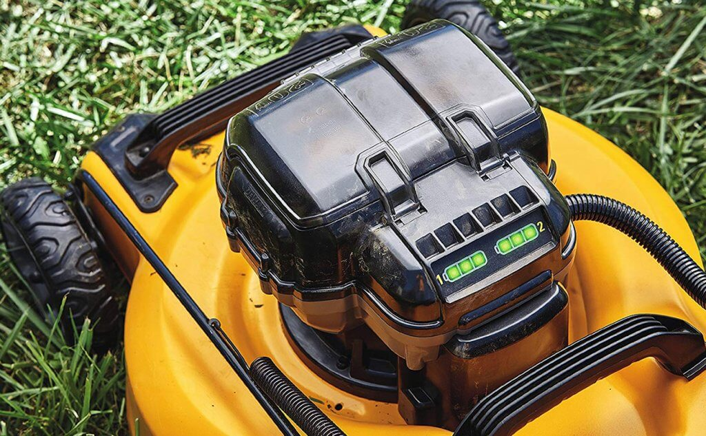 Dewalt 2×20-Volt Cordless Lawn Mower cutting deck