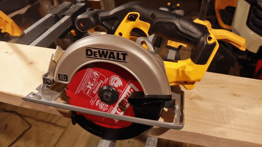 Dewalt DCS391B Circular Saw on 4 by 2
