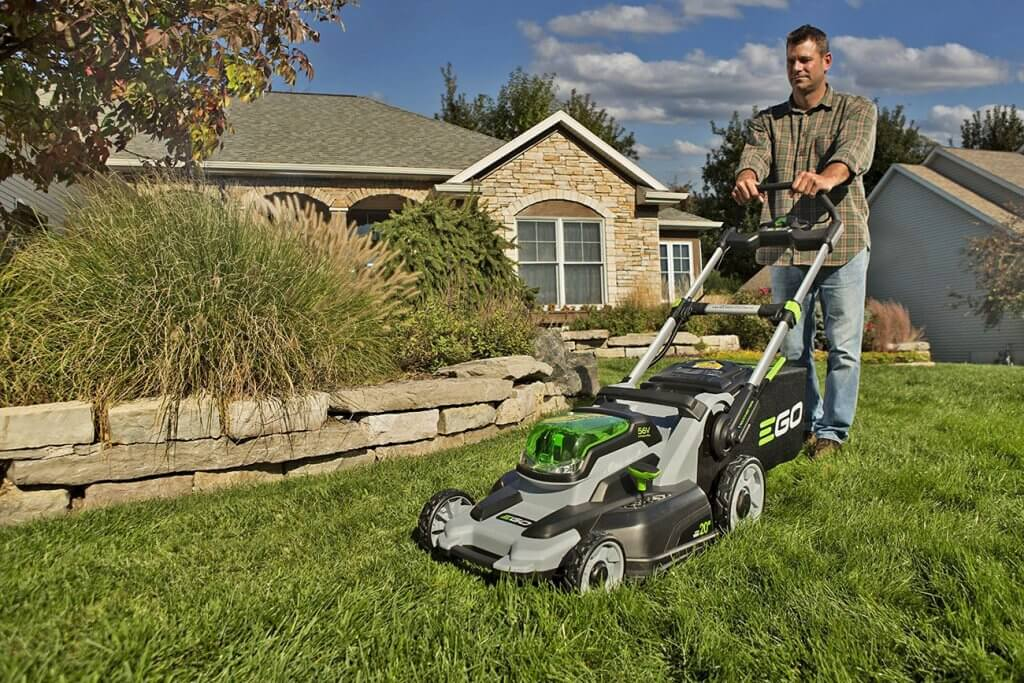 EGO Power+ Cordless Lawn Mower in action on grass