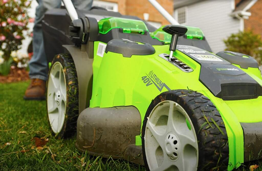 Greenworks Twin Force Cordless Lawn Mower cutting deck