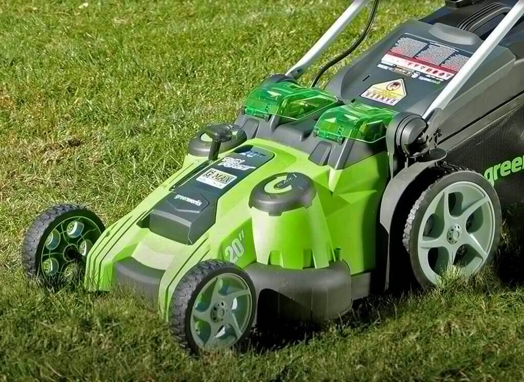 Greenworks Twin Force Cordless Lawn Mower in action