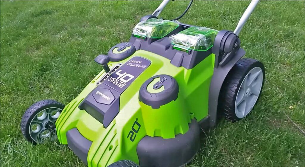 Greenworks Twin Force Cordless Lawn Mower on the lawn