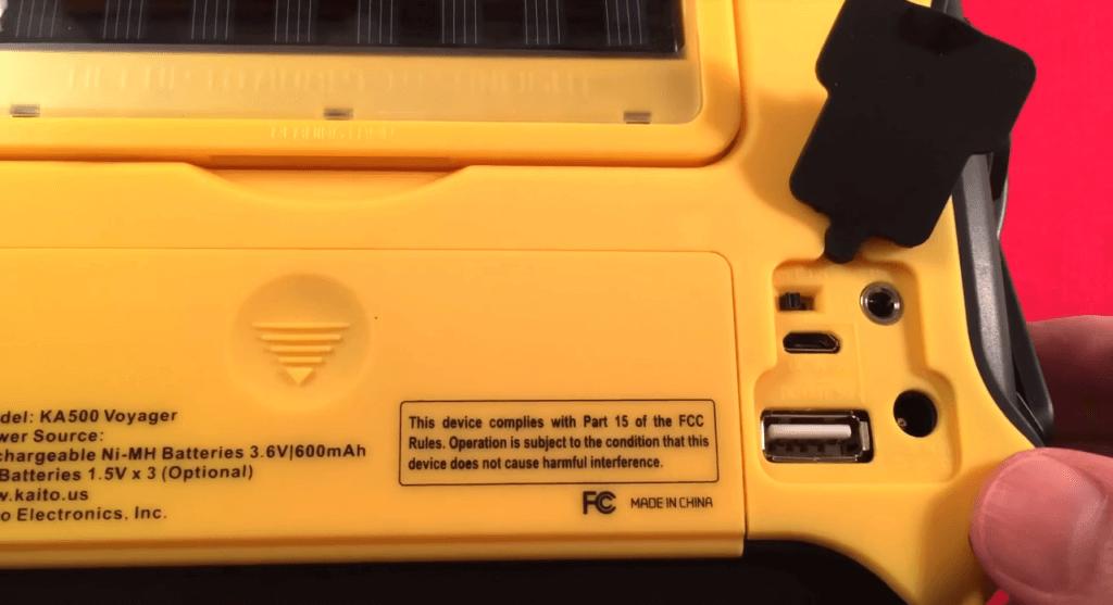 Kaito KA500 charging ports