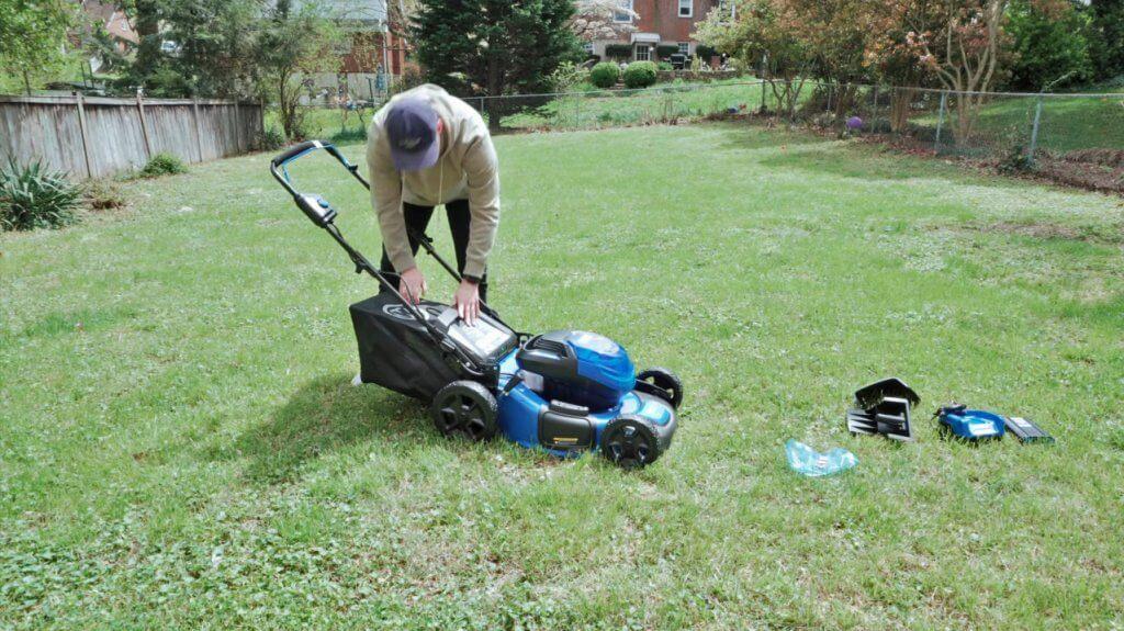 Kobalt 40-Volt Cordless Lawn Mower unboxed