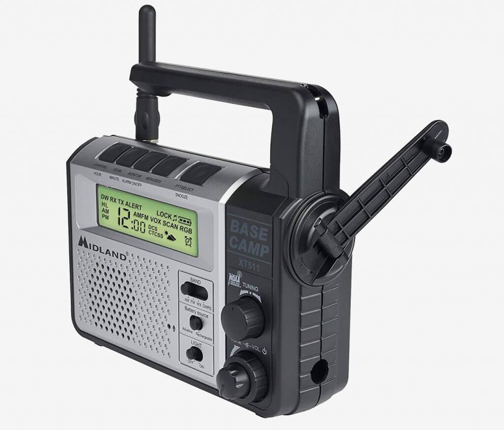 Midland emergency radio charging handle