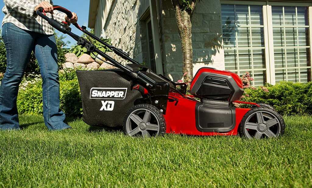 Snapper XD Cordless Lawn Mower on lawn