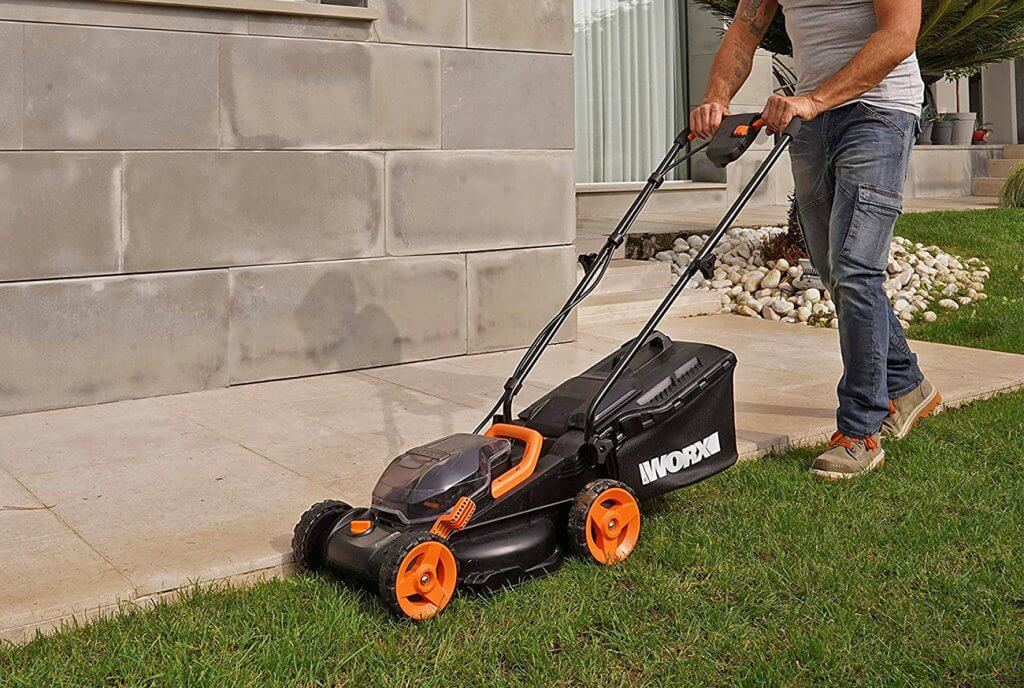 Worx 14-Inch 40-Volt Cordless Lawn Mower in action