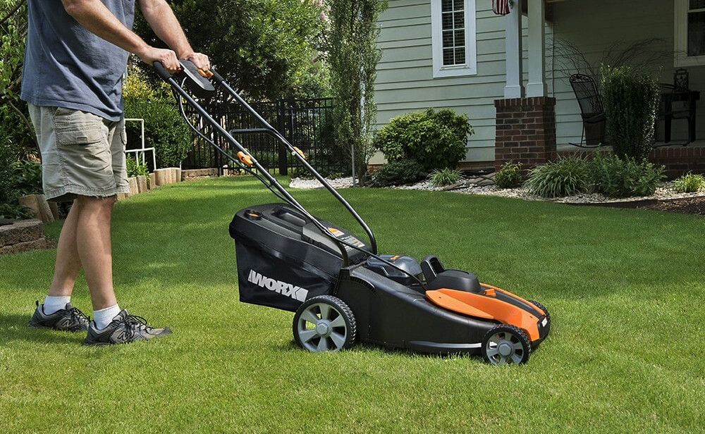Worx 14-Inch 40-Volt Cordless Lawn Mower on lawn