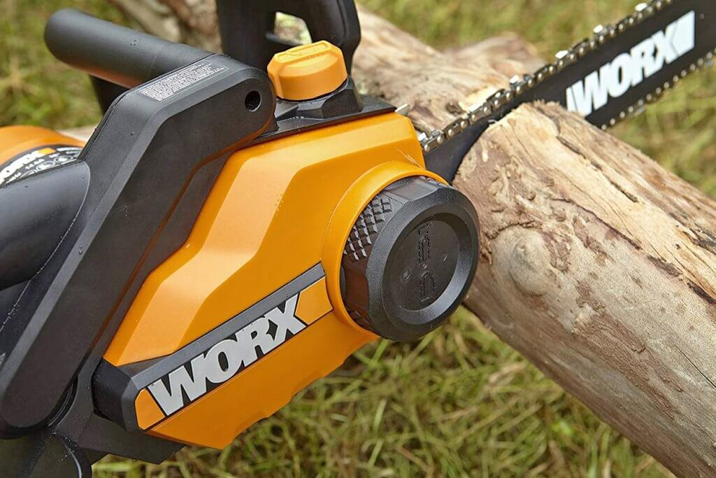 Close-up of the WORX WG303.1 Electric Chainsaw