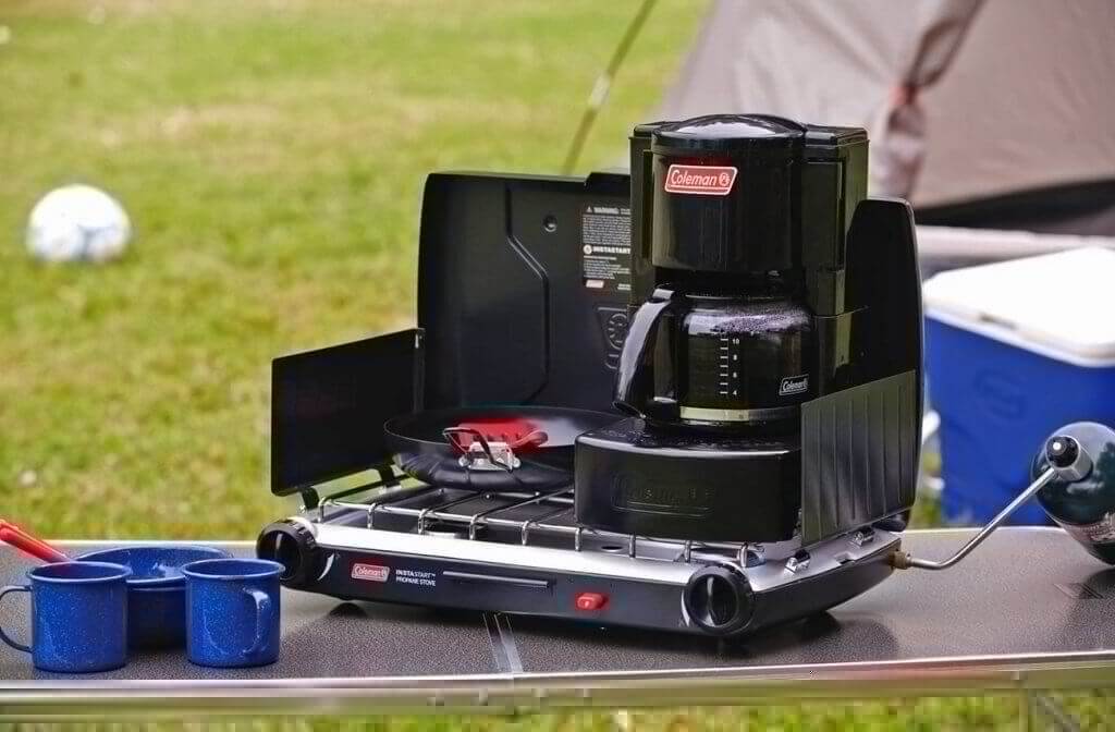 Coleman Camping Coffee Maker on a camping trip