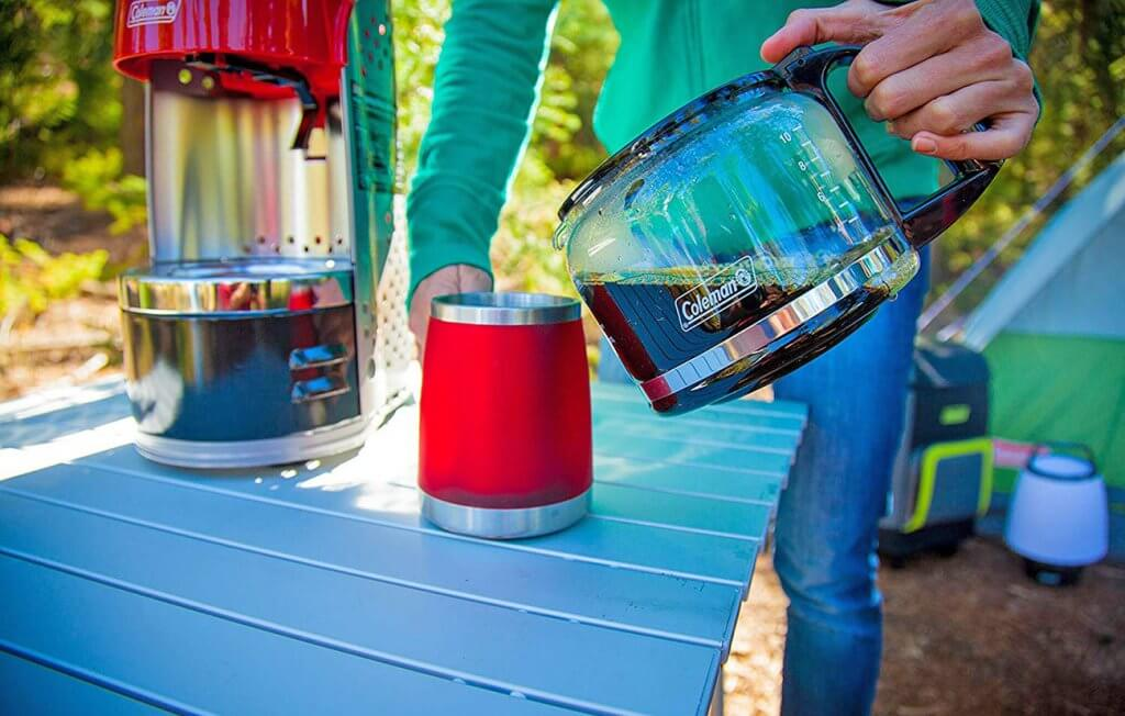 Coleman QuikPot used for making fresh coffee outdoors