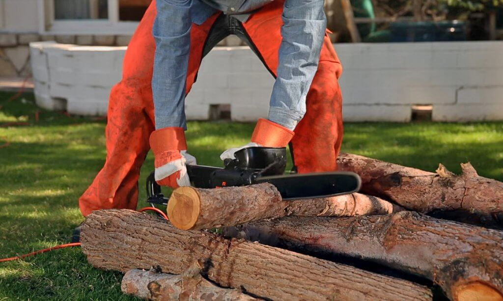 Cutting a log with the Remington RM1425