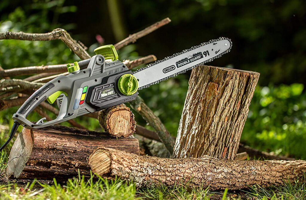 Earthwise CS33016 Electric Chainsaw on trees