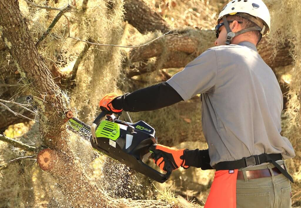 Greenworks Pro 18-Inch Cordless Electric Chainsaw in action