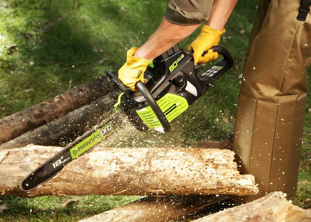 Greenworks Pro 18-Inch cutting wood