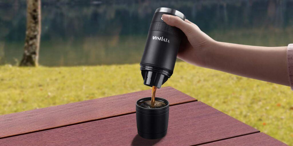 MOSFiATA Portable Coffee Maker in the outdoors on a camping trip