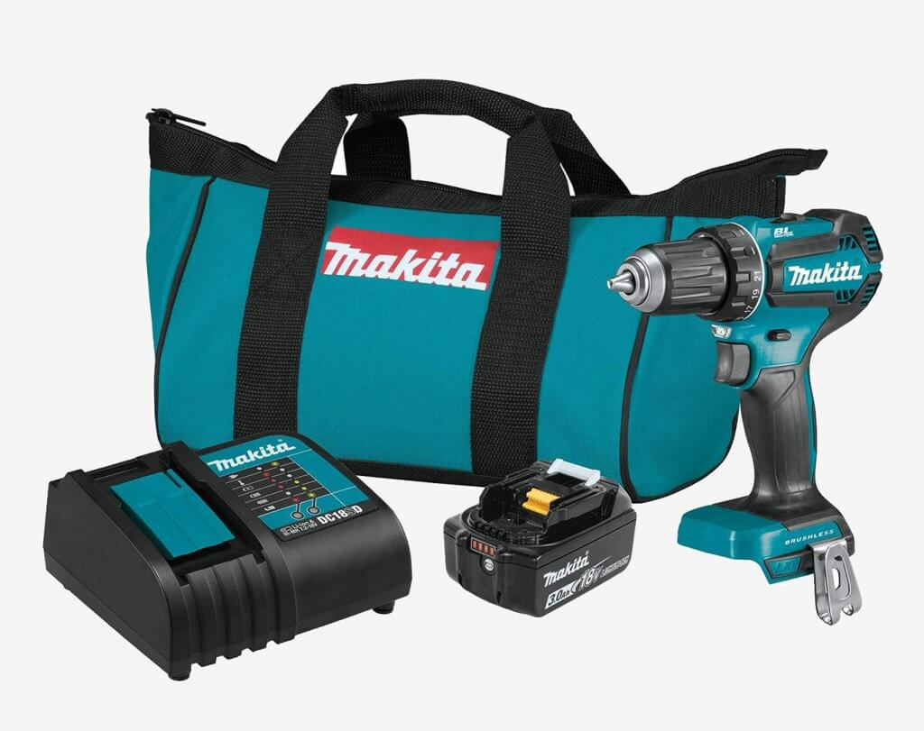 Makita 18V LXT Brushless Drill & Driver (XFD131) and accessories