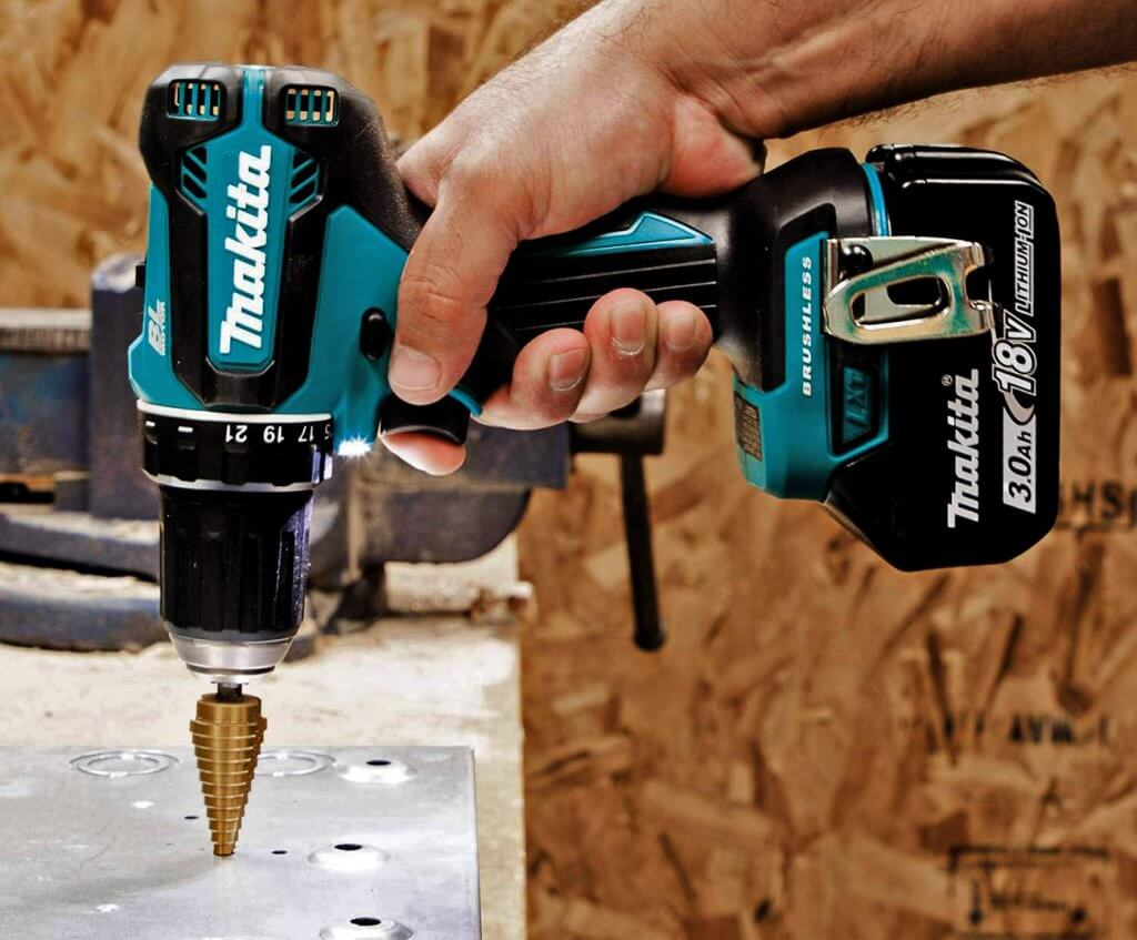 Makita 18V LXT Brushless Drill & Driver (XFD131) on wood
