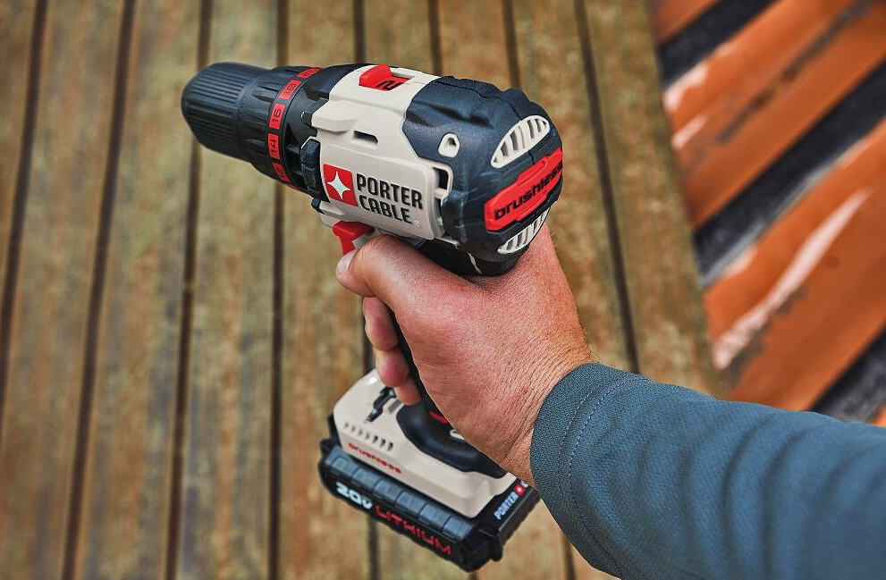 Porter-Cable 20V MAX Brushless Drill & Driver (PCC608LB) in hand