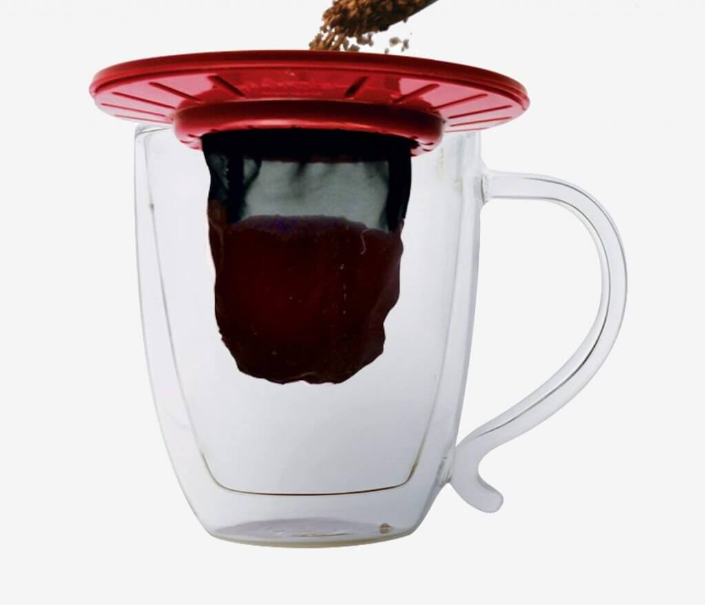 Primula Single-Serve Coffee Brew Buddy with coffee beans