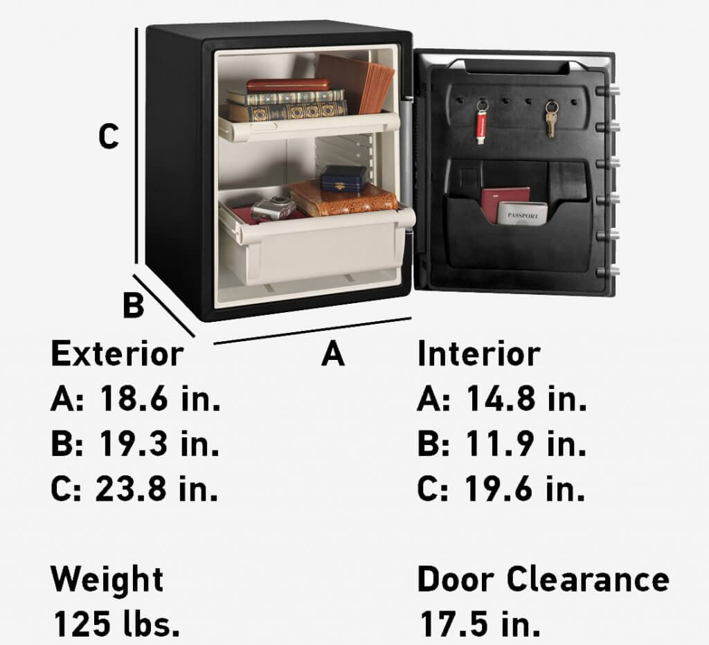 SentrySafe SFW205CWB Fireproof And Waterproof Safe measurements