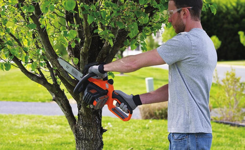 Someone cuts down a tree with the BLACK+DECKER LCS1020